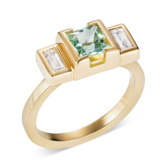 engagement ring lily kamper 18ct gold princess cut mint green tourmaline with baguette diamond shoulders