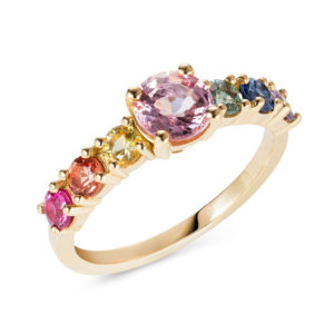 Rainbow Engagement Ring Gold Sapphires Lily Kamper