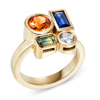 18ct gold multi stone ring featuring brilliant cut orange sapphire and white diamond, baguette blue sapphire and bi-colour emerald cut sapphire engagement ring lily kamper