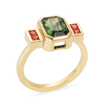 18ct gold large emerald cut green sapphire with chanel set orange sappire shoulders engagement ring lily kamper