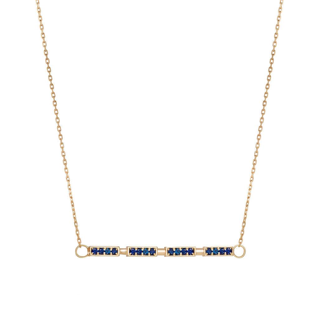 Side Bar Necklace Gemstone Pendant BLUE SAPPHIRE